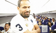 Yusuf Pathan making mischief in the air...
