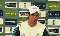 Alastair Cook talks to the media