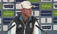 Stuart Broad talks to the media at Emirates Old Trafford