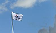 A flag flies at Old Trafford