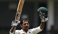 Sarfraz Ahmed raises his bat