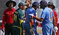 David Warner and Rohit Sharma remonstrate
