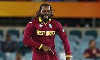 Chris Gayle celebrates a wicket