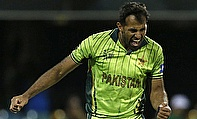 Wahab Riaz celebrates a wicket against Zimbabwe
