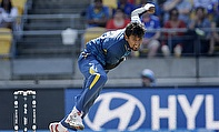 Suranga Lakmal bowls during Sri Lanka's World Cup game against England
