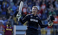 Martin Guptill celebrates his double century in the World Cup quarter-final against West Indies in Wellington on Saturday.