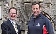 Marcus Trescothick pictured with Taunton School headmaster Lee Glaser
