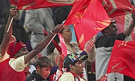 Royal Challengers Bangalore fans in the crowd at an IPL game