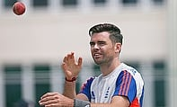 James Anderson during the nets at the Vivian Richards Stadium.