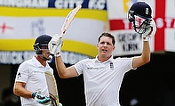 Gary Ballance (right) celebrates his century during the first Test against West Indies in Antigua.