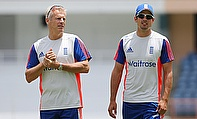 Peter Moores (left) and Alastair Cook (right) during the nets session at the National Cricket Ground in Grenada.