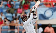 Marlon Samuels in action during the second Test against England in Grenada.