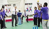 Sir Michael Parkinson Bats For Disability Cricket