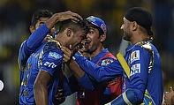 Hardik Pandya congratulated by his team mates as Mumbai Indians defeated Chennai Super Kings by six wickets at the MA Chidambaram Stadium.