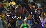 Andre Russell (left) and Yusuf Pathan (right) put on a 53-run stand as Kolkata Knight Riders defeated Kings XI Punjab by one wicket.