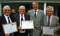ECB Chairman Giles Clarke presents the first Cricket World Club & Ground Heroes of the season with their awards