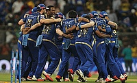Mumbai Indians' players celebrating their win in the Qualifier game against Chennai Super Kings at the Wankhede