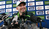 Michael Clarke in a press conference in England.