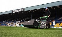 One of the three Dennis G860 mowers in action at Bury's Gigg Lane