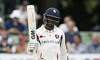 Kent's Daniel Bell Drummond celebrates his 50 against Australia in the warm-up game in Canterbury.