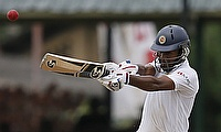 Dimuth Karunaratne pulls to the leg-side