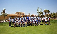 England squad members with Management and Officials at Desert Springs Resort in Spain.
