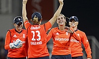 Charlotte Edwrds and Jenny Gunn celebrate a wicket