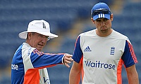 Alastair Cook (right) having a conversation with Trevor Bayliss (left) during a net session.