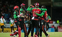 St Kitts and Nevis Patriots celebrating the dismissal of Ross Taylor as they defeated St Lucia Zouks by 26 runs.