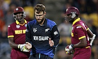 Daniel Vettori celebrates a wicket against West Indies