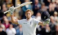 Joe Root celebrates his century in the first Ashes Test