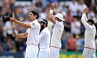 England players applaud the crowd following their Ashes win in Cardiff