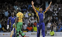 Ravi Rampaul celebrates a wicket for Barbados Tridents