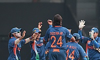 India Women celebrate a wicket
