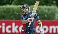 Kyle Coetzer celebrating his fifty as Scotland demolish Canada by eight wickets in Edinburgh.