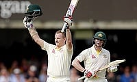Chris Rogers (left) and Steven Smith (right) added an unbeaten 259 for the second wicket as Australia piled 337 runs for the loss of just one wicket o