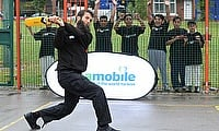 Moeen Ali batting during his visit to the Chance To Shine Street in Sparkhill, Birmingham