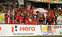 Trinidad & Tobago Red Steel celebrating their maiden CPL win in Port of Spain.