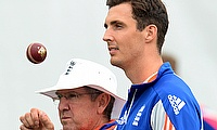 Steven Finn (right) along with England coach Trevor Bayliss during a training session.
