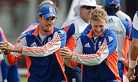 Steven Finn and Joe Root training for England