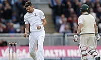 James Anderson celebrating his five-wicket haul in Edgbaston on day one.