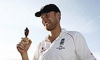 Andrew Flintoff poses with a replica of the Ashes urn