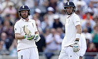 Ian Bell (left) and Joe Root (right) scored an unbeaten 73 run stand as England defeated Australia by eight wickets at Edgbaston.