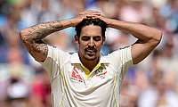 Mitchell Johnson shows his disappointment