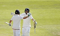 Ian Bell and Joe Root embrace at Edgbaston