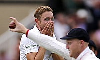 Stuart Broad reacts after Ben Stokes (front) takes a stunning catch