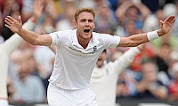 Stuart Broad appeals for a wicket