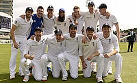 The England team celebrating the win over Australia in the fourth Test at Trent Bridge.