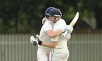 Ali Barrowman and Ben Watkins celebrate their match-winning partnership