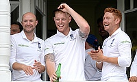 Adam Lyth (left) celebrating England's win over Australia at Trent Bridge along with Ben Stokes (centre) and Jonny Bairstow (right).